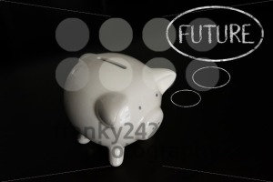 Piggy bank with thought bubbles, thinking FUTURE - franky242 photography
