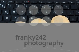 bitcoins on keyboard - franky242 photography