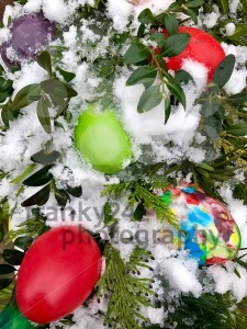 Easter eggs and decoration in snow - franky242 photography
