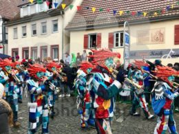 Traditional carnival in South Germany – Swabian-Alemannic Fastnacht. A local group is performing traditional Guggenmusik, brass and percussion music.