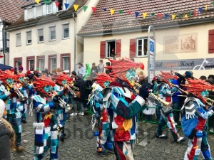 Traditional carnival in South Germany - Swabian-Alemannic Fastnacht. A local group is performing traditional Guggenmusik, brass and percussion music. - franky242 photography