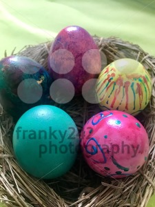 Easter Eggs in straw nest - franky242 photography