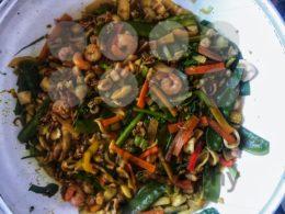 Wok stir fry with seafood