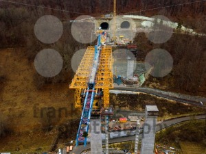 Aerial of a complex new railway bridge construction between two tunnels - franky242 photography