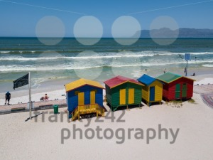 Colourful wooden beach huts at Muizenberg beach - franky242 photography
