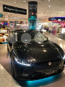 The new Jaguar I-Pace electric car on display for visitors of the duty free shops of Frankfurt Airport to win. - franky242 photography