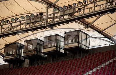soccer stadium roof with commentary cabin Stock Photo