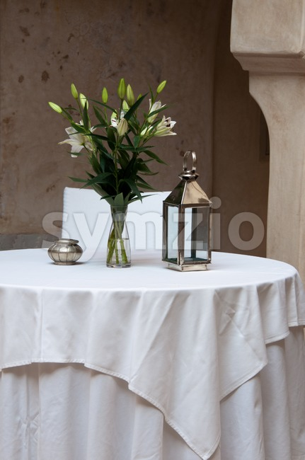 Romantic Table in a beautiful environment in a morrocan restaurant