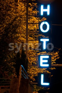 Hotel Neon Sign Stock Photo