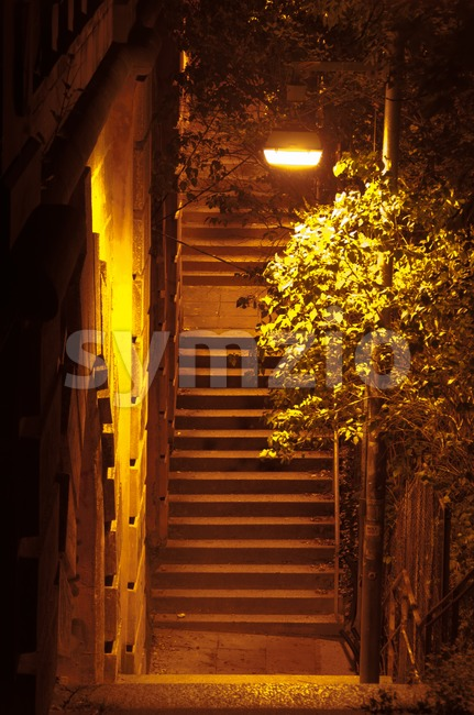 Ancient Passage with stairs at night Stock Photo