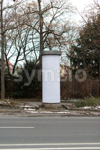 Blank advertising column Stock Photo