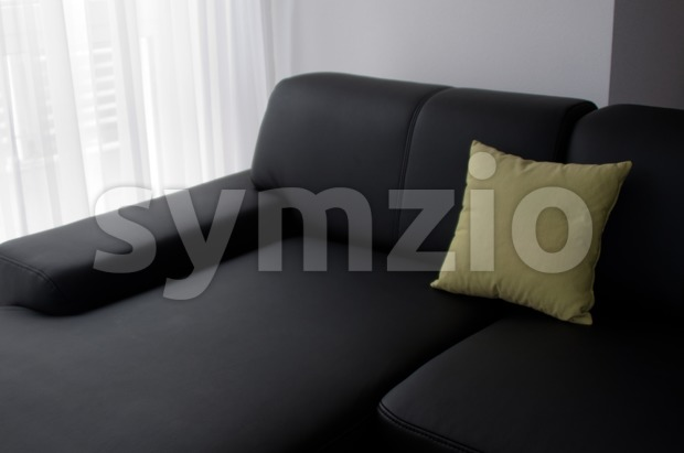 Luxury black designer leather sofa with green pillow