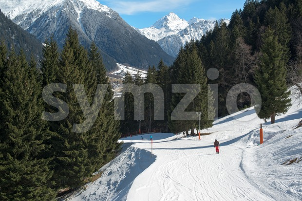 Ski slope in a skiing resort in the Alpes in a valley of Montafon