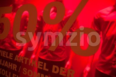 Shop Window With 50% sales written in German Stock Photo