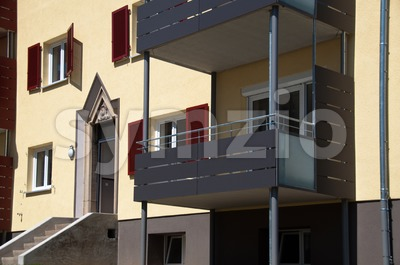 Renovated old House with heat insulation Stock Photo