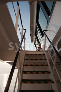 Boat Deck and Bridge Stock Photo