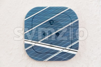 Conceptual: Solar Panels over Power Outlet Stock Photo
