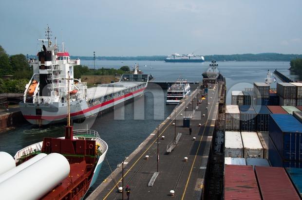 Locks at Exit of Kiel Canal, Germany Stock Photo