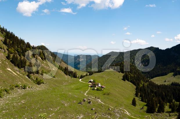 View on Bodenschneid Pasture near Schliersee, Bavaria, Germany