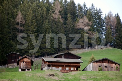 Alpine Cottages Stock Photo
