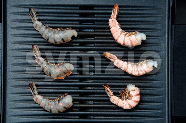 Shrimp On Grill Stock Photo