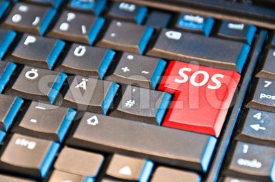 Computer Keyboard With SOS Key Stock Photo