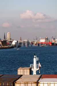 Approaching Hamburg Harbor Stock Photo