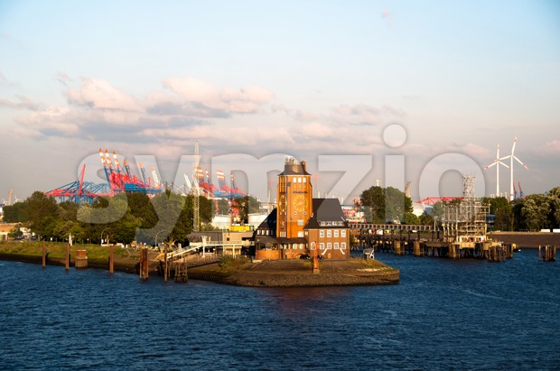 Hamburg harbor - Pilot house Stock Photo