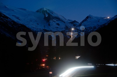 Mountain Village At Night Stock Photo