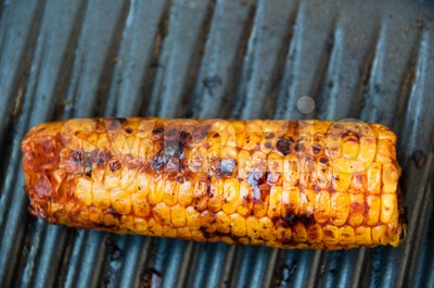 Sweet Corn On BBQ Stock Photo