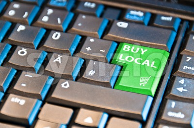 Online Shopping - Buy Local Stock Photo