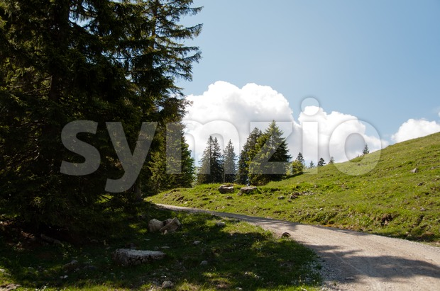 Mountain path with great sky in the bavarian alps