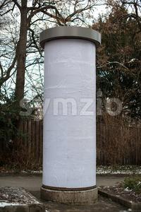 Blank advertising column Stock Photo