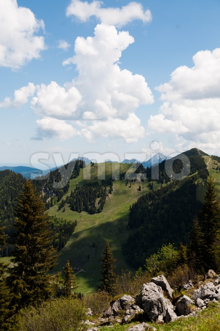 Panoramic view on Bavarian Alps from Bodenschneid near Schliersee, Bavaria, Germany