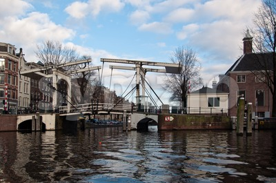 Typical Amsterdam Drawbridge Stock Photo