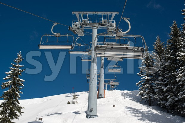 Skilift in a skiing resort in the Alpes in a valley of Montafon