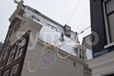 Christmas Street Lighting in Amsterdam Stock Photo