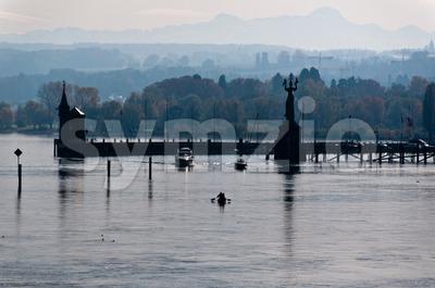 Konstanz harbor in fall Stock Photo