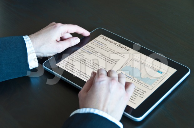 Stock Analysis on digital tablet Stock Photo