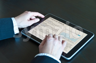 Stock Analysis on digital tablet Stock Photo