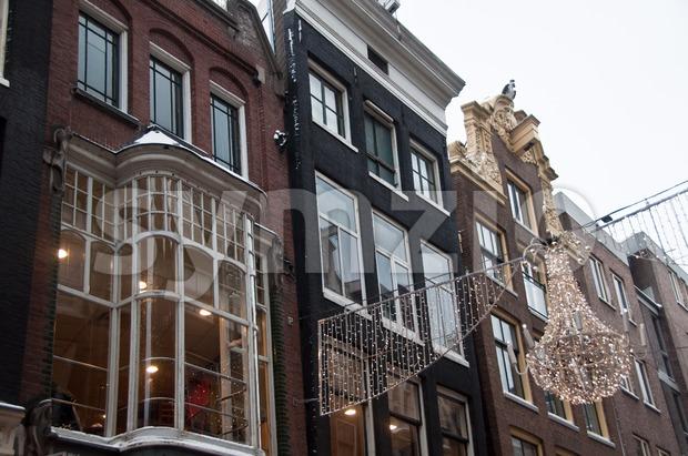 Christmas Street Lighting in Amsterdam Stock Photo