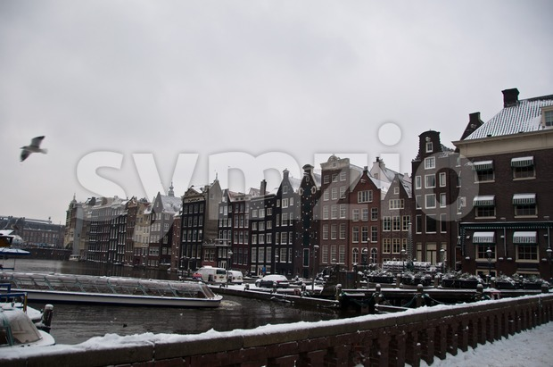 Amsterdam in snow Stock Photo