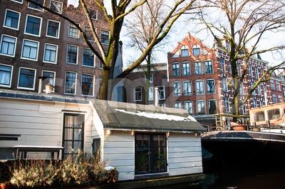 Amsterdam House Boat Stock Photo