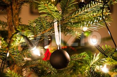 Christmas Ball Hanging From Christmas Tree Stock Photo