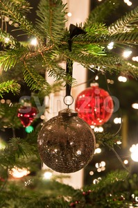Christmas Balls Hanging From Christmas Tree Stock Photo