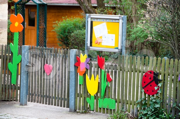 Nicely decorated kindergarten entrance at an elementary school