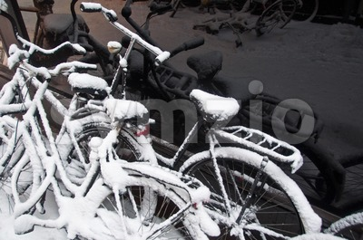 Bikes In The Snow Stock Photo