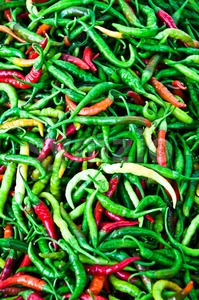Mixed Chili Peppers Stock Photo