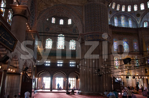Prayer at The Blue Mosque, Istanbul, Turkey Stock Photo