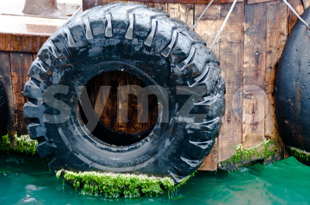 Harbor with tire bumper Stock Photo